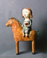 Ангел на лошадке. Глина, глазурь