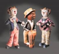 Клоуны-музыканты. Глина, глазурь